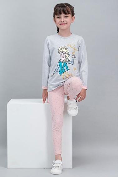 Frozen Karlar Ülkesi - Frozen Lisanslı Karmelanj Kız Çocuk Tayt Tunik Takım Gri
